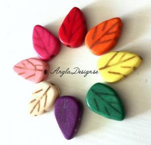 Syntetisk turkos löv mixade färger, 1 sträng