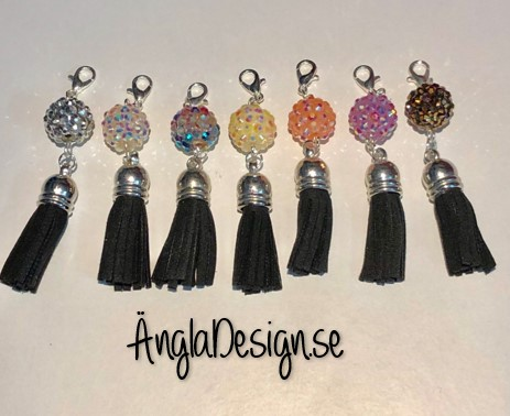 Tassel svart, hänge med färgad strass pärla, 1st