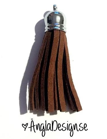 Tassel/tofs 6cm brun mockaimitation, platinum, 1st