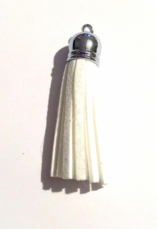 Tassel/tofs 6cm, vit mockaimitation, platinum, 1st