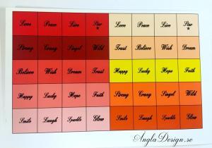 Färdigt textark för 14mm, ordmix, röd/gul, 1 ark
