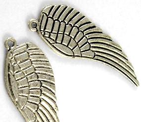 Berlock vinge antiksilver, 5cm, 1st