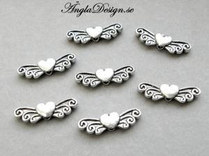 Mellandel antiksilver, vinge med hjärta, 10-pack