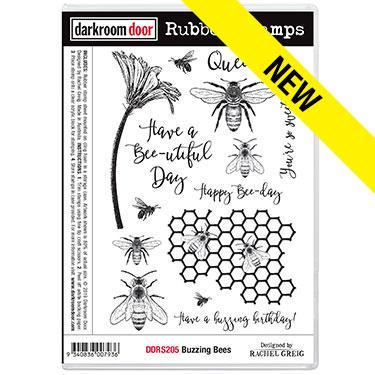 Darkroom door rubber stamp set-Buzzing Bees