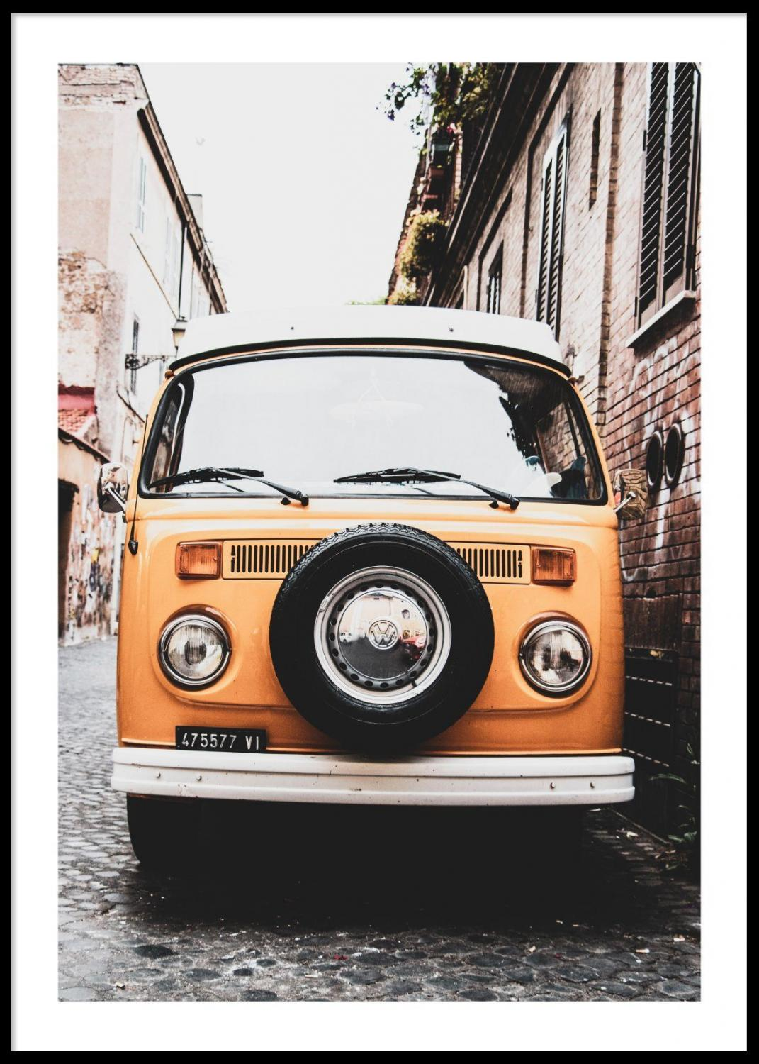 Poster OId Yellow Car