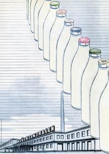 Affisch Mjölkflaskor på rad