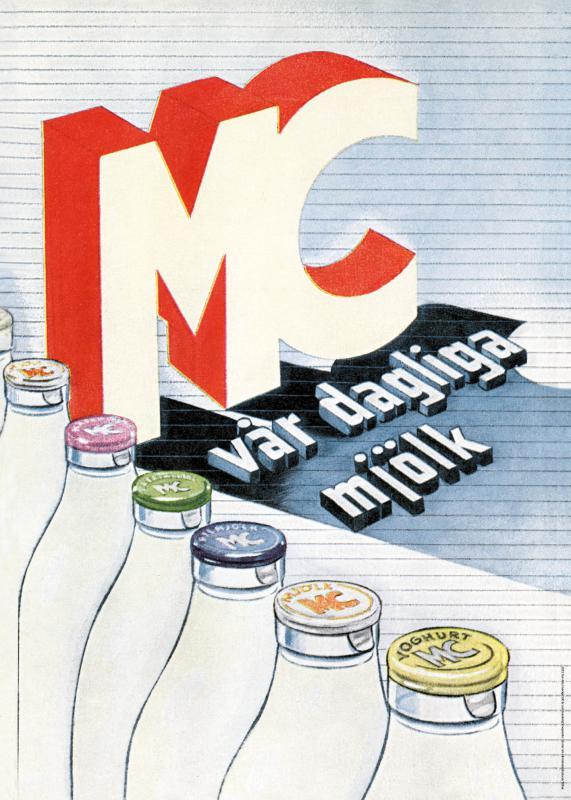 Affisch Mjölkflaskor