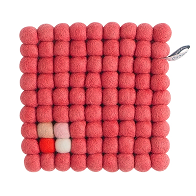 Square trivet of 100% wool - Raspberry color with white, pink, yellow and coral detail.