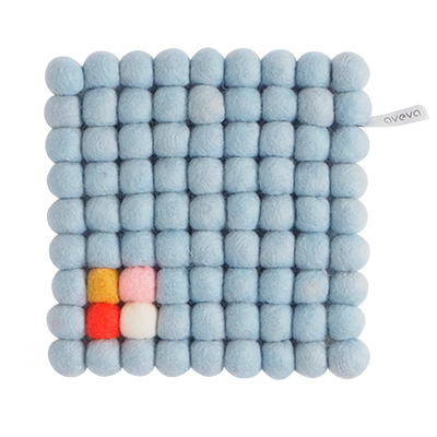 Square trivet of 100% wool - Light blue with white, pink, yellow and coral detail.