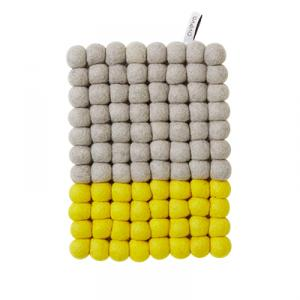 Grey and yellow rectangular trivet in wool