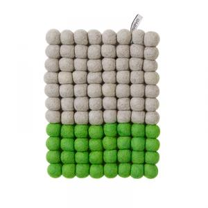 Grey and green rectangular trivet in wool