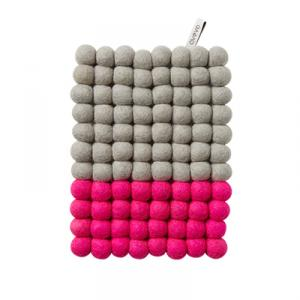 Grey and cerise rectangular trivet in wool