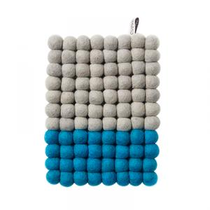 Grey and turquoise rectangular trivet in wool