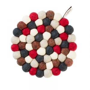 Round handmade trivet made of 100% wool - Mixed red and grey colors.