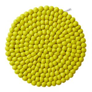 Round seat cushion in lime in 100% wool.