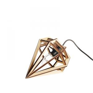 Small diamond shaped lamp in wood - beige nature