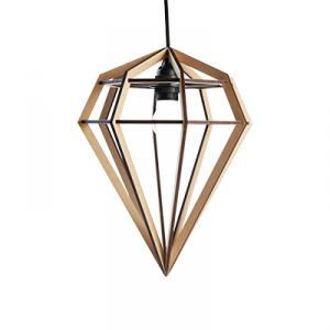 Diamond shaped lamp in wood - beige nature