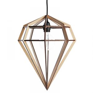 Large diamond shaped lamp in wood - beige nature