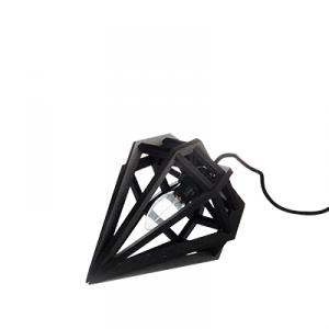Small diamond shaped lamp in wood - black
