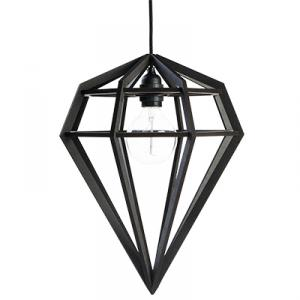 Large diamond shaped lamp in wood - black