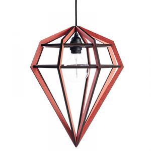 Large diamond shaped lamp in wood - red