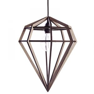 Stor diamond shaped lamp in wood - grey