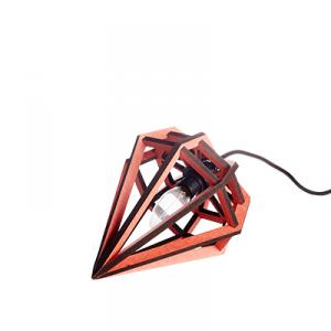 Small diamond shaped lamp in wood - red