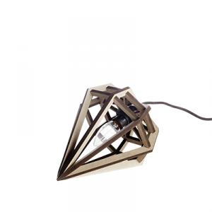 Small diamond shaped lamp in wood - grey