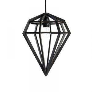 Diamond shaped lamp in wood - black