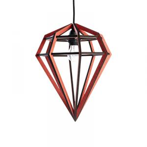 Diamond shaped lamp in wood - red