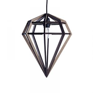 Diamond shaped lamp in wood - grey