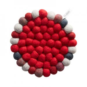 Round trivet in 100% wool – red-multi