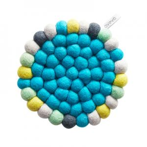 Round trivet in 100% wool – blue-multi