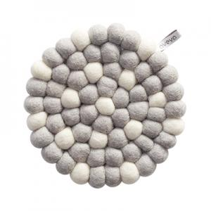 Round handmade trivet made of 100% wool - Light grey and white.