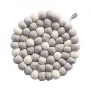 Round handmade trivet made of 100% wool - Light grey and white.