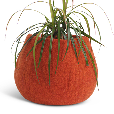 Large rounded flower pot in rust red made of wool.