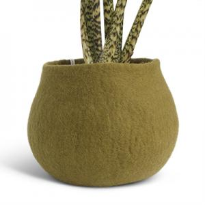 Large rounded flower pot in olive green made of wool.