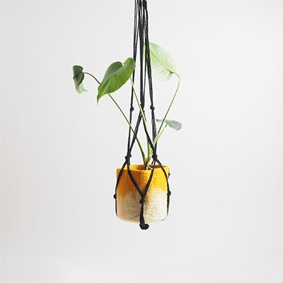 Black macrame flower pot hanger for your hanging plants.