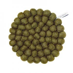 Round handmade trivet made of 100% wool - Olive green.
