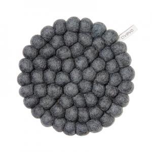 Round handmade trivet made of 100% wool - Dark grey.