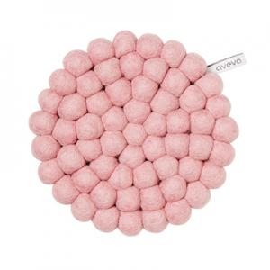 Round handmade trivet made of 100% wool - Pink.