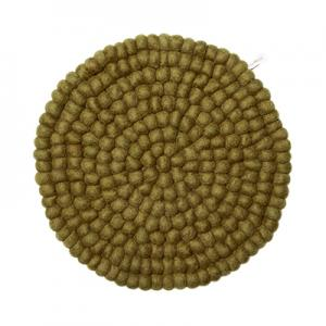 Round olive green seat cushion in 100% wool.