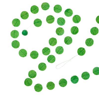 Green garland in 100% wool.