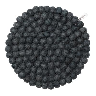Large round trivet made of 100% wool - Dark grey.