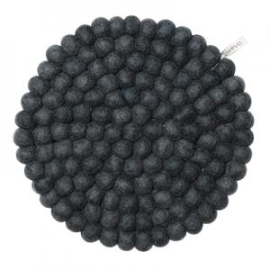 Large round trivet made of 100% wool - Dark grey.