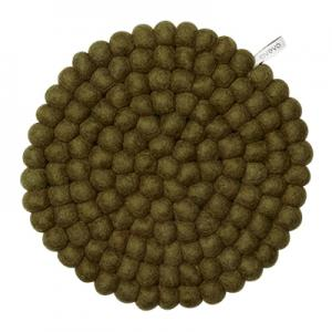 Large olive-green trivet in 100% wool