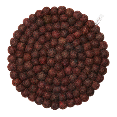 Large round trivet made of 100% wool - Berry.