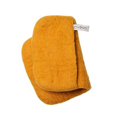 Handmade potholder made of 100% wool - Mustard