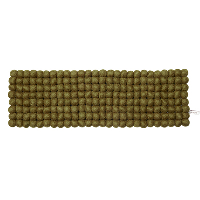 Handmade tablerunner made of 100% wool - Olive green.