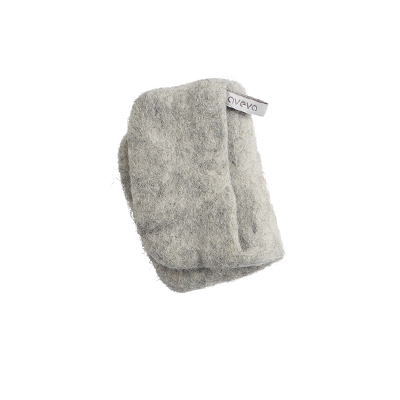 Handmade potholder made of 100% wool - Raw wool grey.
